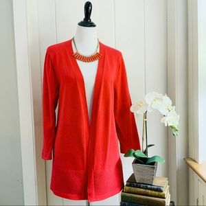 TALBOTS Red Ribbed Open Front Cotton Cardigan